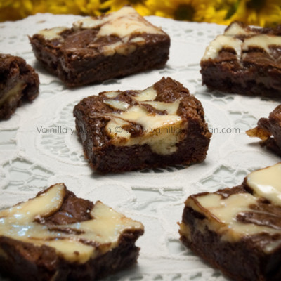 Brownies con tope de queso crema